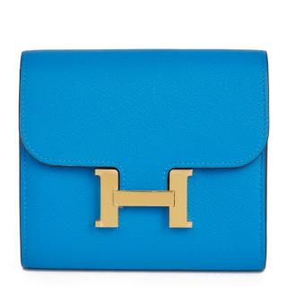 Hermes Blue Hydra Evercolor Leather Constance Compact Wallet