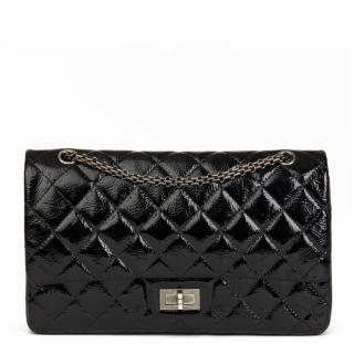 Chanel Black Quilted Aged Patent 2.55 Reissue 227 Double Flap Bag