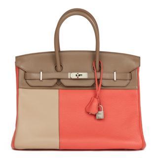 Hermes Rose Jaipur Clemence, Etoupe & Argile Swift Tri-colour Birkin
