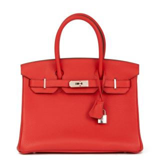 Hermes Rouge Tomate Clemence Leather Birkin 30cm