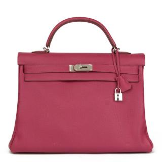Hermes Tosca Clemence Leather Kelly 40cm Retourne
