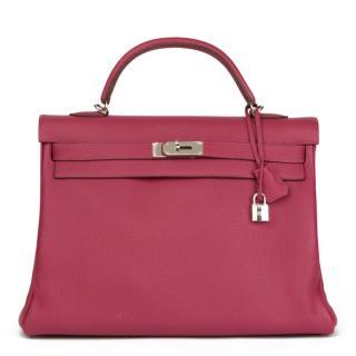 4200e97813ec Hermes Tosca Clemence Leather Kelly 40cm Retourne