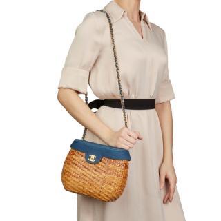 Chanel Blue Denim & Woven Straw 'Picnic' Vintage Basket Bag