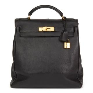 Hermes Black Togo Leather Vintage Kelly Ado Backpack