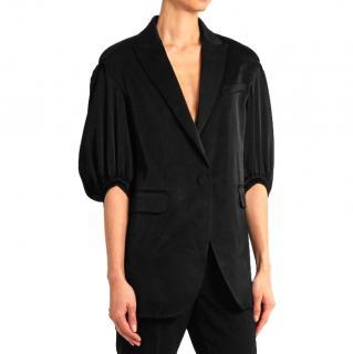 Sonia Rykiel puff-sleeved black satin blazer