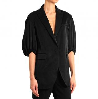 Sonia Rykiel puff-sleeved black satin blazer