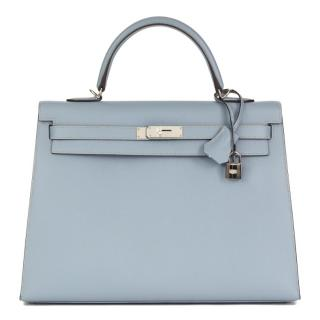 Hermes Blue Lin Epsom Leather Kelly 35cm Sellier