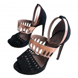 Alaia Lasercut Metallic Leather & Suede Sandals