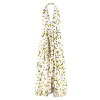 Milly Banana-print hatlerneck poplin maxi dress