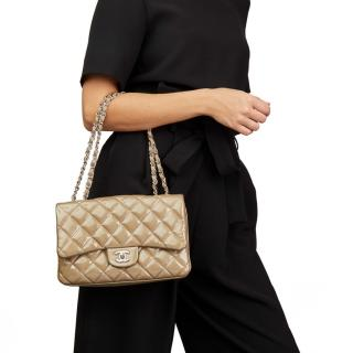 Chanel Taupe Quilted Patent & Lambskin Accordion Single Flap Bag