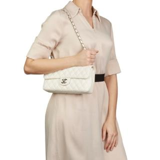 Chanel White Quilted Caviar Leather East West Classic Single Flap Bag