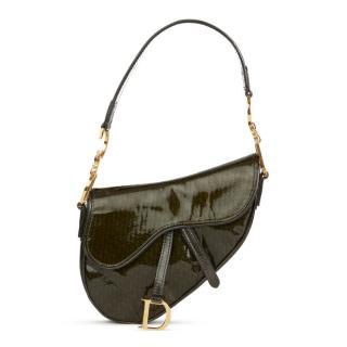 Christian Dior Olive Green Monogram Patent Leather Mini Saddle Bag