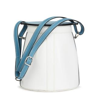 Hermes Blue Jean & White Epsom Leather Farming Bucket Bag