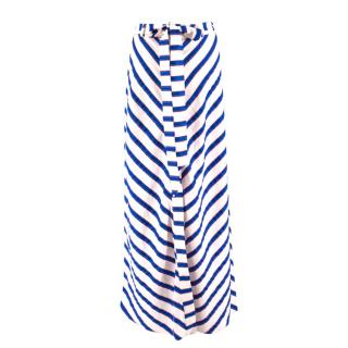 Milly button-down striped maxi skirt