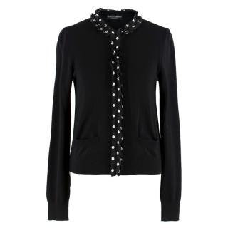 Dolce & Gabbana Black Wool and Silk Polkadot Cardigan