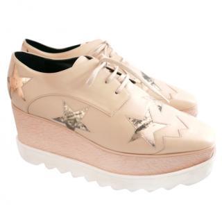Stella McCartney Elyse Mirror Star & Camel Platform Derby Shoes