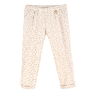 Blumarine Girl's White & Gold Trousers - 36 Months