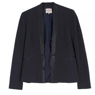 Sea New York leather-trimmed slub cotton-blend blazer