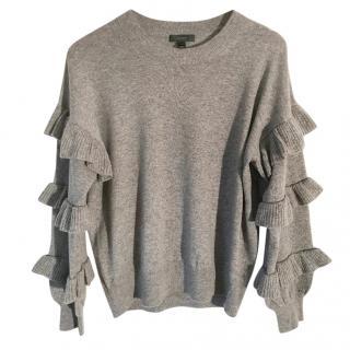 J. Crew Ruffle sleeve grey marl wool crew neck sweater