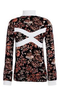 JW Anderson Black Multicolor Floral Mock Neck Sweater