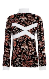 JW Anderson Black Multicolor Floral Mock Neck Sweater