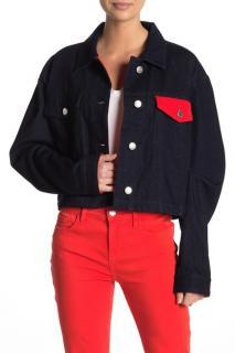 Current/Elliot The Collin Cropped Contrast Denim Jacket