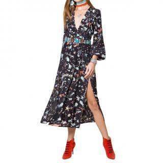 Rixo Camellia Under The Sea V-Neck Silk Midi Dress