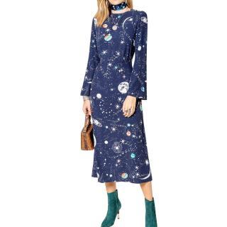 Rixo Sheena Cosmic Constellation Silk Midi Dress