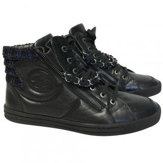 Chanel Leather & Tweed High Top Trainers