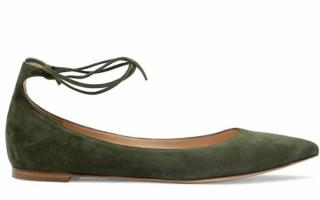 Gianvito Rossi green suede lace up ballerina flats
