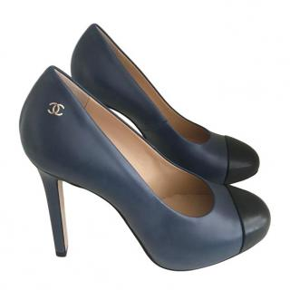 Chanel Blue & Black Cap-Toe Pumps