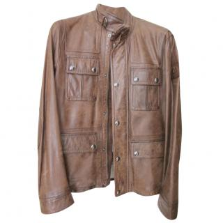 Belstaff brown leather jacket.