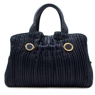 Bvlgari petrol blue pleated leather tote bag