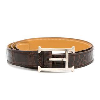 Hermes Meil Porosus Crocodile Leather Belt