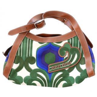 Miu Miu SS05 Collector's Green & Blue Retro Canvas Leather Logo Tote