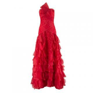 Oscar de la Renta vintage couture red silk-organza gown