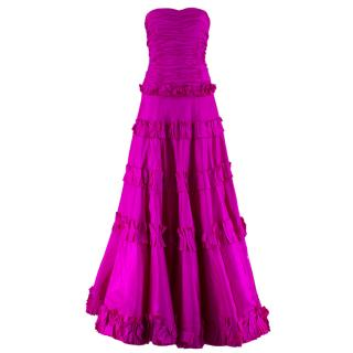 Oscar de la Renta vintage couture pink silk-taffeta gown