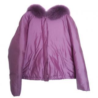 Blumarine violet silk fur hooded short puffer