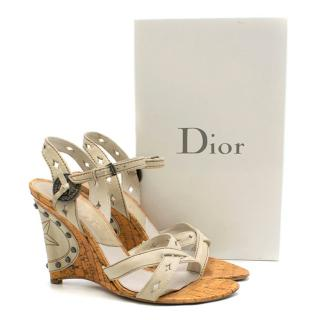 Dior Gaucho studded leather wedge sandals
