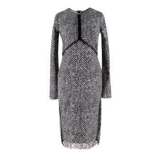 Roberto Cavalli lace-insert tweed dress