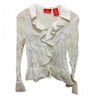Oscar by Oscar de la Renta silk blend crinkled blouse