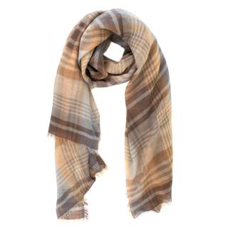 Mulberry large checked wool and cashmere-blend scarf