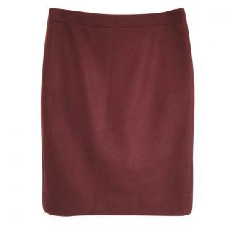 J. CREW No. 2 100% wool knee length burgundy skirt