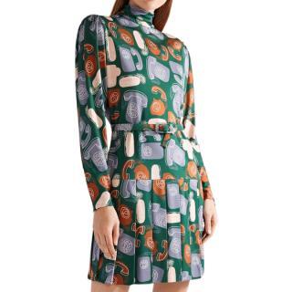 Miu Miu telephone print retro inspired mini dress