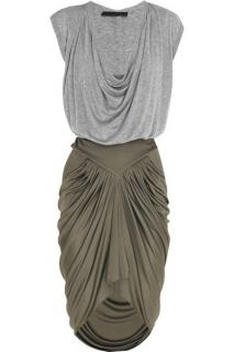 Alexander Wang Grey Jersey Dress with Contrast Draped Skirt