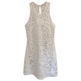 Maje White Crocheted Sleeveless Dress