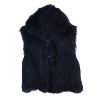 Zadig & Voltaire Deluxe Black Raccoon Fur Gilet