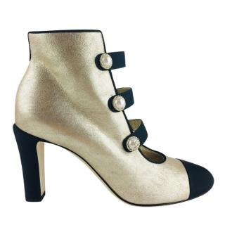 Chanel Gold Metallic Leather Pearl CC Ankle Boots