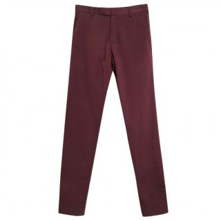 Carven burgundy tapered stretch chinos