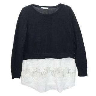 Sandro Paris Black & White Floral Lace Knit Jumper